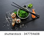 Sushi And Seaweed Salad On...