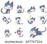 Cute And Funny Cartoon Kitten...