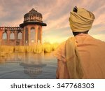 indian poor man near ganges... | Shutterstock . vector #347768303