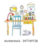 home workplace for designer... | Shutterstock .eps vector #347769728