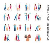 flat color icons set depicting... | Shutterstock .eps vector #347774639