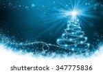 shining blue christmas tree... | Shutterstock . vector #347775836