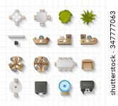office interior furniture icons ... | Shutterstock .eps vector #347777063