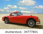classic red cabriolet on a...   Shutterstock . vector #34777801