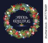 christmas wreath. holiday... | Shutterstock .eps vector #347778089