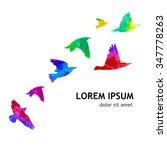 Bird Watercolor. A Flock Of...
