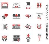 Theatre Red Black Icons Set...