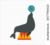 icon of circus seal holding... | Shutterstock .eps vector #347790410