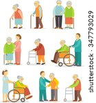 set of older people in flat... | Shutterstock .eps vector #347793029
