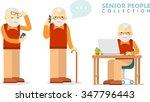 social concept   old man using... | Shutterstock .eps vector #347796443