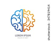 vector logo icon with brain and ... | Shutterstock .eps vector #347819414