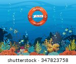 Colorful Coral Reef With Fish...