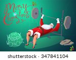 santa workout in gym. merry... | Shutterstock .eps vector #347841104