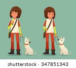 girl with white dog on a leash | Shutterstock .eps vector #347851343