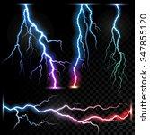 vector realistic lightnings... | Shutterstock .eps vector #347855120