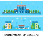 two horizontal banners. large... | Shutterstock .eps vector #347858873