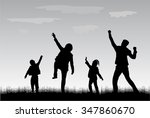 family silhouettes in nature.   Shutterstock .eps vector #347860670