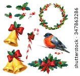christmas watercolor set with... | Shutterstock . vector #347863286