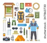 set of flat vector icons on the ... | Shutterstock .eps vector #347863730