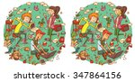 find 20 differences visual game.... | Shutterstock .eps vector #347864156