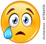 crying face emoticon with tear | Shutterstock .eps vector #347866430