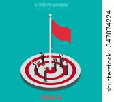 goal achievement flag rising... | Shutterstock .eps vector #347874224