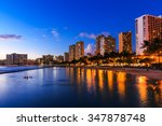 honolulu skyline and waikiki... | Shutterstock . vector #347878748