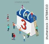 calendar schedule flat 3d... | Shutterstock .eps vector #347884310