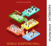 mobile shopping mall flat 3d... | Shutterstock .eps vector #347884394