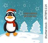 cute penguin . merry christmas... | Shutterstock . vector #347891114