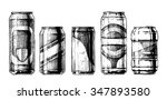 vector set of beverage cans in... | Shutterstock .eps vector #347893580