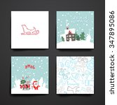merry christmas set of card... | Shutterstock .eps vector #347895086