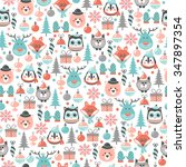 christmas pattern with forest... | Shutterstock .eps vector #347897354