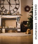 christmas home interior with... | Shutterstock . vector #347899340