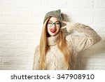 Funny Hipster Girl In Knitted...