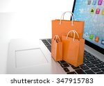 laptop and  shopping pags on... | Shutterstock . vector #347915783
