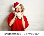 Smiling Christmas Girl With...