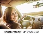 woman in car indoor keeps wheel ... | Shutterstock . vector #347921210