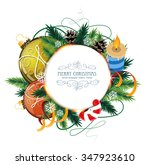 christmas ornaments with candle ... | Shutterstock .eps vector #347923610