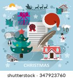 winter scene with christmas... | Shutterstock .eps vector #347923760