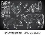 hand drawn farm animals on... | Shutterstock .eps vector #347931680