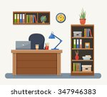 workplace in office. cabinet... | Shutterstock .eps vector #347946383