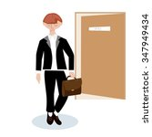 a young man leaves the office... | Shutterstock .eps vector #347949434