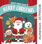 vintage christmas poster design ... | Shutterstock .eps vector #347950148