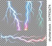 Vector realistic lightnings thunderbolt on transparent background.