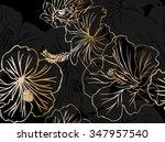 vector drawing hibiscus flowers ... | Shutterstock .eps vector #347957540