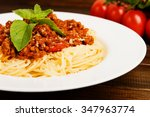 pasta with tomato sauce and... | Shutterstock . vector #347963774