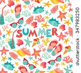 summer seamless pattern with... | Shutterstock .eps vector #347983250
