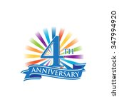 4th anniversary ribbon logo...   Shutterstock .eps vector #347994920