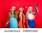young nice girls have fun on a... | Shutterstock . vector #348001460